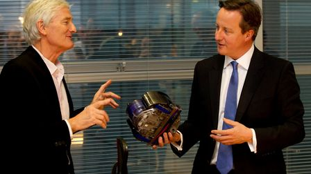 Former prime minister David Cameron (right) with James Dyson. Photograph: Daily Telegraph/PA Wire.