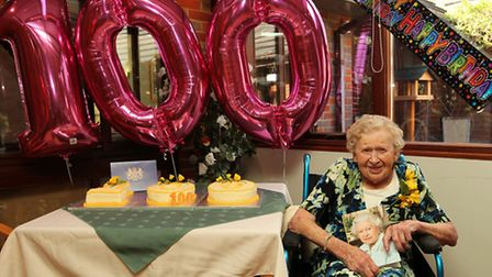 Joan Parry celebrates her 100th birthday with friends and family at St Matthews Care Home