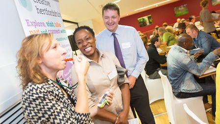 Photo shows networking activity at the launch with Nick Denham of Hertfordshire Music Service on the