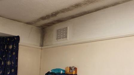 Mould and damp on the ceiling of the bedroom of Scott Anderson's house in Harpenden