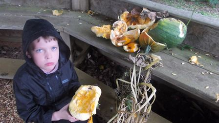 James with a smashed pumpkin after vandals destroyed the school alottment.