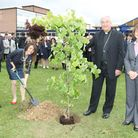 Clive Mathew, Executive Head, Annie Brewster, Mayor of St Albans, Archbishop Vincent Nichols and Ber