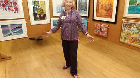 Valerie Pettifer, chair of the Royston arts society, with the art works on display