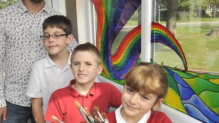 Ex Earith School pupil Jack Bainbridge, now a studying artist, has done stained glass project with t