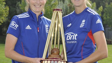 England cricketers (l-r) Charlotte Edwards and Jenny Gunn coaching at Bushmead Primary School