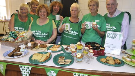 Fundraisers at the Macmillan Coffee Morning at Commemoration Hall, Huntingdon. (From left) Laura Str