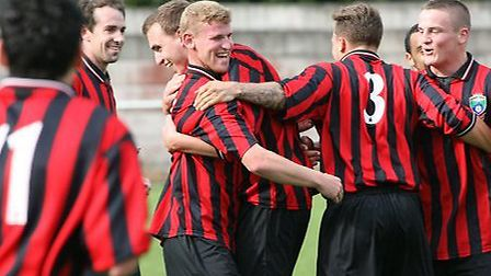 London Colney celebrate a goal. Picture by James Whittamore