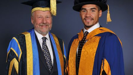 Louis with Professor Michael Thorne, Anglia Ruskins Vice Chancellor.