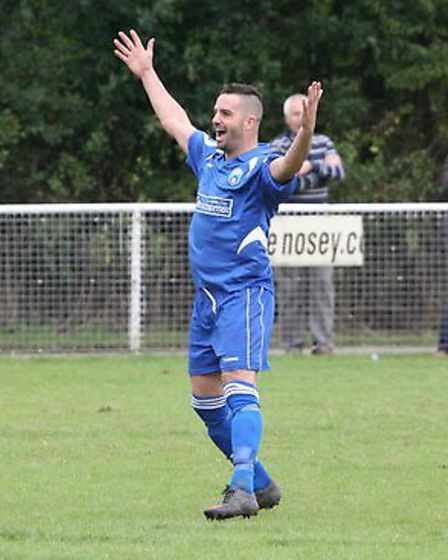 Jimmy Hill celebrates scoring his first league goal for London Colney. Picture by James Whittamore