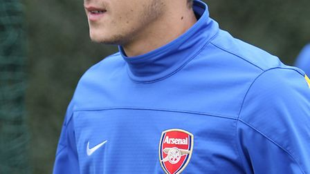 Arsenal's new record signing Mesut Ozil at their London Colney training facility