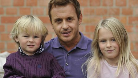 911 Boyband member Jimmy Constable, at home in Eaton Socon with his kids (l-r) Taylor and Ellie