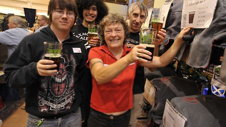 St Ives Beer Festival, at the Burgess Hall, volunteers (l-r) (l-r) Carl White, Allan Shaw, Kathy Ha