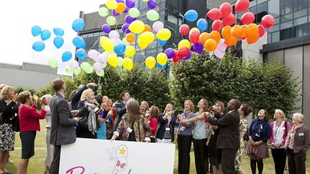 Staff at Addenbrooke's and representatives of Tom's Trust launch Brainbow