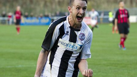 Jared Cunniff celebrates scoring St Ives goal in their 1-0 FA Trophy win over Kettering. Picture: Lo