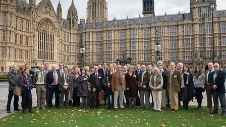 The farmers outside the Houses of Parliament