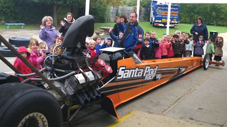Crosshall Infants School had a visit from Santa Pod Raceway with one of their dragster cars.