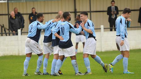 St Albans City celebrate Mark Nwokeji's goal against Witham Town. Picture by Bob Walkley