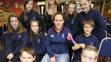 Olympic Rowing Gold Medalist Sophie Hosking visits Ernulf Academy, St Neots, with pupils from KS3
