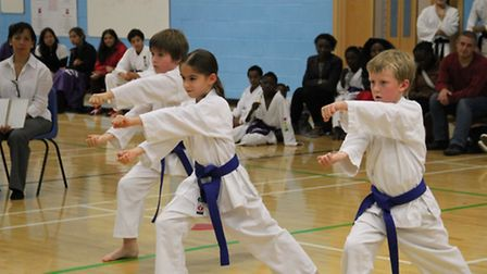 Helena McConnell, Edward Dack and Oliver Dean in team Kata action.