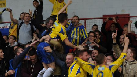 Lee Chappell celebrates City's win with the fans. Picture by Bob Walkley