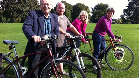St Albans Cycling Campaign members, from left, John Metcalf, Mike Hartley and Rona Wightman (front r