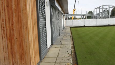 The narrow pavement outside the new bowls club at Batchwood Hall
