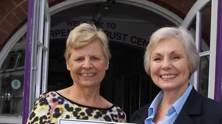 (l to r) Sue Coad, Care Fund Chairman for The Harpenden Trust and Taylor Wimpey Sales Executive, San