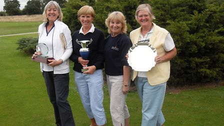 Left to right Anne Peers ,Mandy Handscombe , Gay Rodham, Lady Captain and Elaine Knobel- Forbes