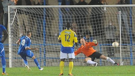 Andrew Phillips scores Bedford Town's second goal from the penalty spot. Picture by Bob Walkley