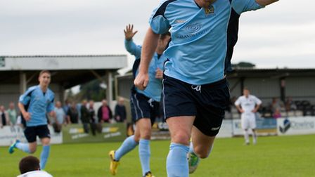 Chris Watters celebrates scoring City's first goal against Truro on Saturday. Picture by Bob Walkley