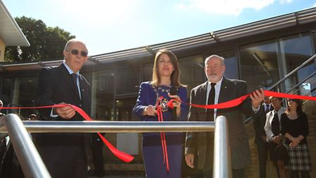 Mayor of St Albans Annie Brewster and two Brothers of the Sacred Heart open the new building at St C