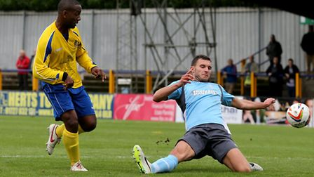 Mark Nwokeji scored a hat-trick in the first qualifying round win over Enfield Town. Picture by Leig