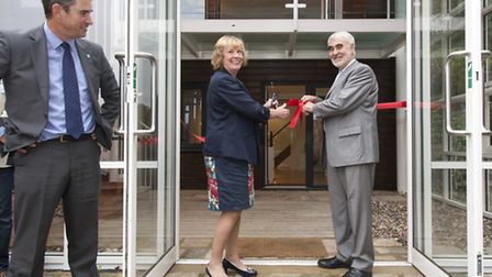 Watford Mayor Dorothy Thornhill and Kerry Pollard cut the ribbon to officially open the BRE Smart Ho