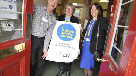The opening of Rural Cambs CAB at Huntingdon Town Hall, staff (l-r) Nick Blencowe, Sarah Bellow, Rac
