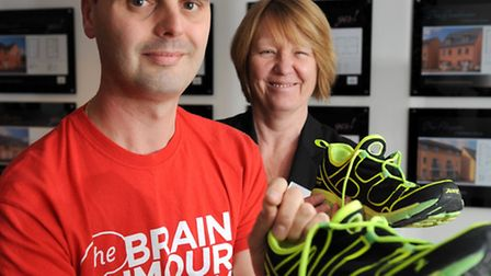 Gearing up for his first half marathon – dad-of-two Gavin Alemanno pictured with Linden Homes sales