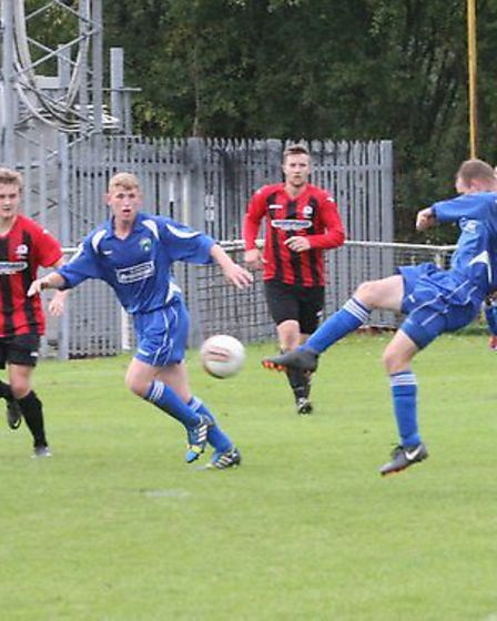 Matt Newman scores London Colney's second goal. picture by James Whittamore