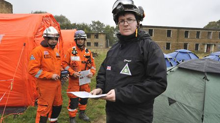 SARAID volunteer (front) Ben Findlay, in training at RAF Upwood, with colleagues (l-r) Kris Hurley a