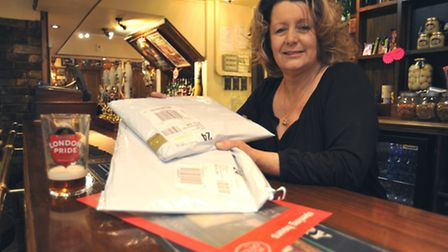 The Anchor at Little Paxton, will open the new Post Office next week, Landlady Sue Merritt at the ba