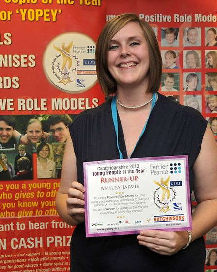 Yopey Awards Evening. Ashlea Jarvis with her runner up certificate.