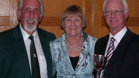 Keith Wood with club vice captain David Caunce and ladies' vice captain Kath Caunce.