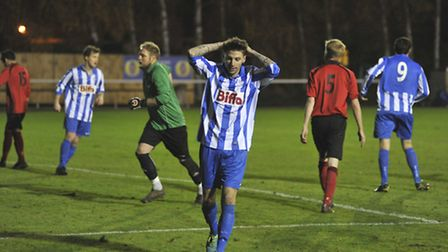Eynesbury Rovers could have scored more in their 2-0 win against Thrapston Town. Picture: Helen Drak