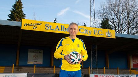 Former Arsenal and England striker Alan Smith tested the World Cup Brazuca at St Albans City's Clare