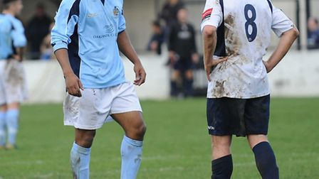 Greg Ngoyi was sent off for an alleged elbow against Witham Town. Picture: Bob Walkley