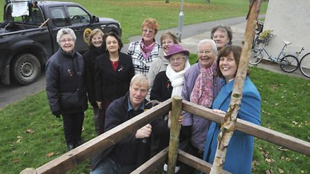 The replanting of a memorial tree for women's section of the St Ives Royal British Legion, at Warner