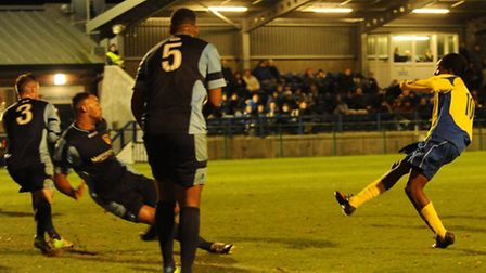 Jamal Lowe hits the winner for St Albans City against St Neots Town