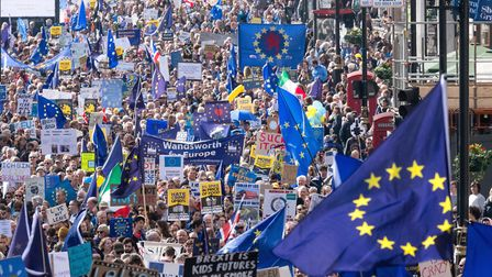 LONDON, ENGLAND - MARCH 25: Thousands of anti-Brexit supporters take part in the Unite for Europe ma