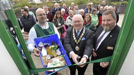 St Neots Foodbank was officially opened by (centre) the Mayor Andrew Hansard, and (left) Chairman of