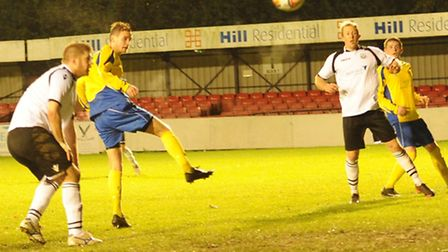 David Keenleyside, centre, scored twice for St Albans City against Cambridge City. Picture: Bob Walk