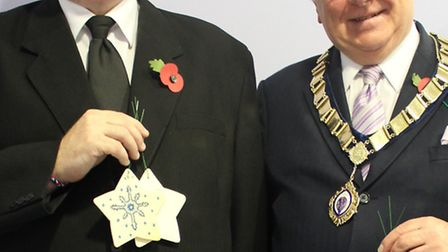 Mayor of St Neots Coun Andrew Hansard (right) and Darren Barker of Anglia Co-operative Funerals at S