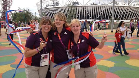 Alison Bass on the left with two other Olympic volunteers